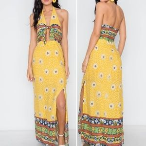 22aee6fb8d6 Trend Setter Diva Boutique · YELLOW FLORAL PAISLEY PRINT SITE SLITS MAXI  DRES